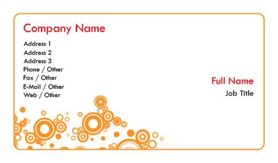 White and Orange Circles Business Card Template